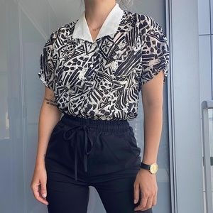 Vintage Abstract Black and White Top